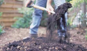 flower garden care - digging the flower bed