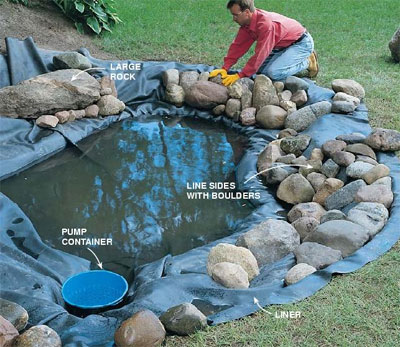 Pool liners for garden ponds for Diy small fish pond